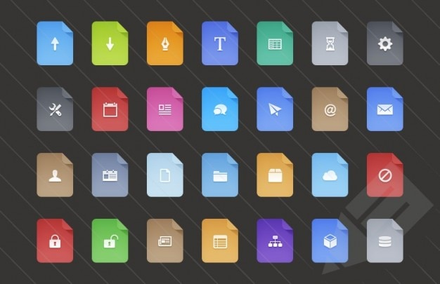 Kolorowe ikony płaskie rozszerzeń