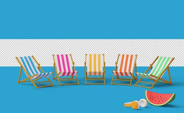 Kolorowe krzesło plażowe z arbuzem i słuchawkami, renderowanie 3d