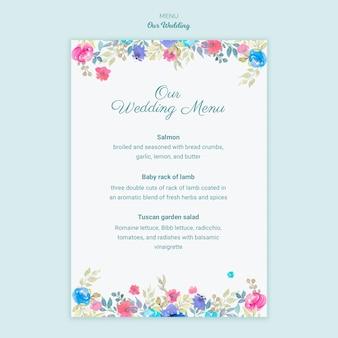 Kolorowe menu koncepcja ślubu