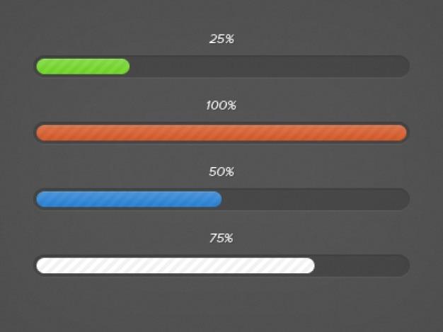 Kolorowe paski postępu elementy interfejsu