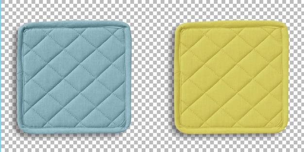 Kolorowe rękawice kuchenne kwadratowy zestaw, ochrona przed ciepłem i bezpieczeństwo izolowany na przezroczystości