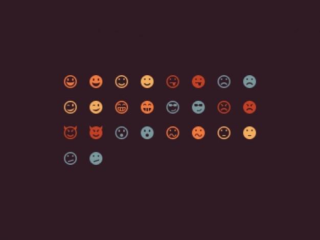 Kolorowe smilies dla wyrazu czatu