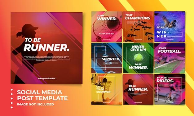 Kolorowe sportowe szablony postów w mediach społecznościowych