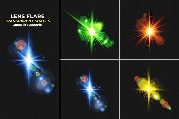 Kolorowe świecące przezroczyste błyszczy efekt świetlny zestaw flary