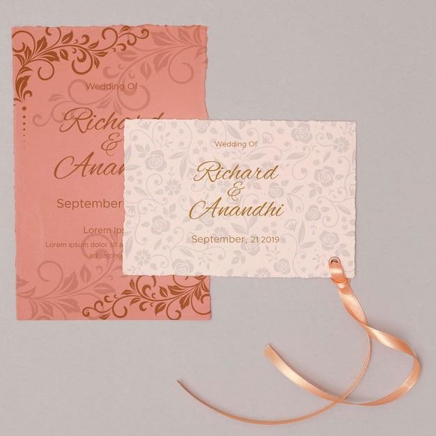 Kolorowe wesele zaproszenie ze wstążką