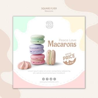 Kolorowy francuski macarons kwadratowy szablon ulotki