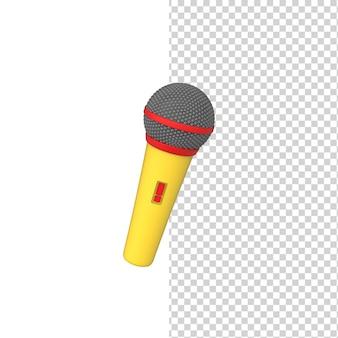 Kolorowy jasny mikrofon bezprzewodowy na białym tle model renderowania 3d