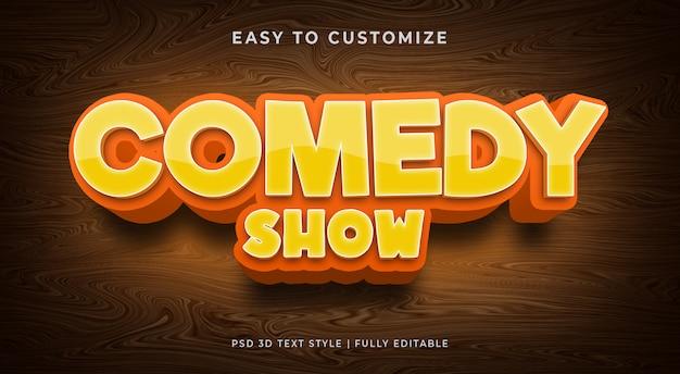 Komedia pokaż makieta efektu stylu tekstu 3d