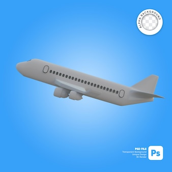 Komercyjny samolot startuje obiekt 3d