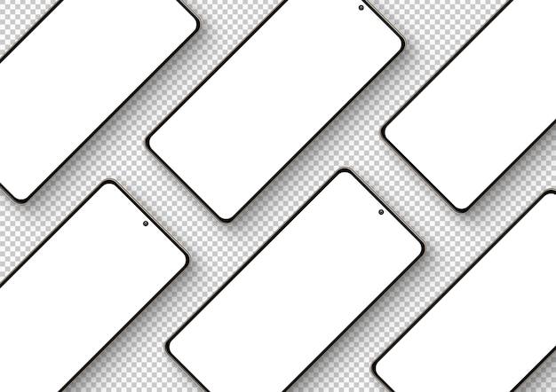 Kompozycja przekątnej na białym tle smartfonów