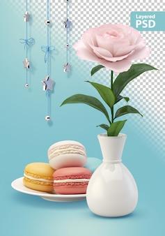 Kompozycja z kwiatem ciasteczka i wiszącymi dekoracjami