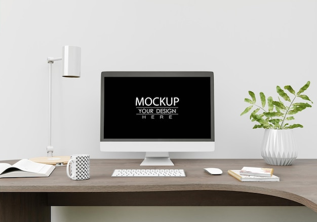 Komputer na stole w miejscu pracy mockup psd