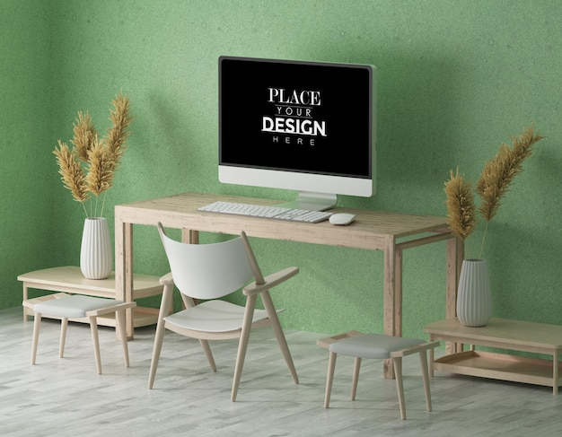 Komputer na stole w miejscu pracy mockup
