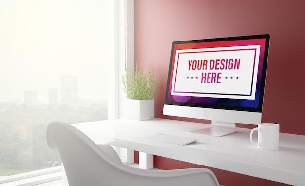 Komputer z makietą czerwonego pulpitu