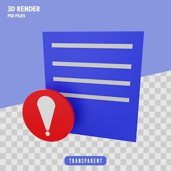 Komunikat ostrzegawczy renderowania 3d ikona na białym tle