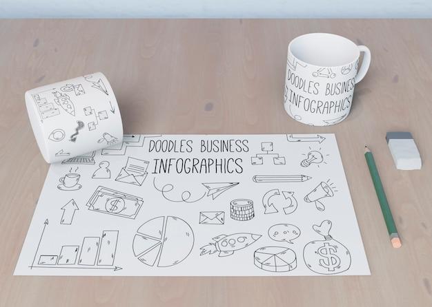 Koncepcja biurka z arkuszy szkicu