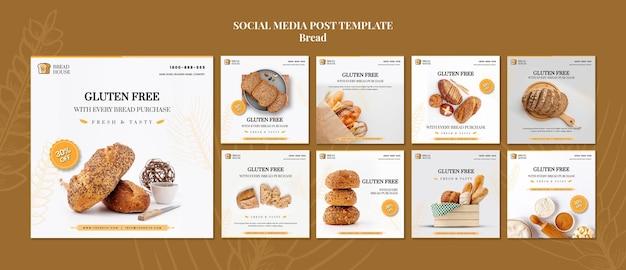 Koncepcja chleba szablon postu w mediach społecznościowych