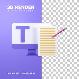 Koncepcja copywritera renderowania 3d poprzez kreatywne pisanie, aby przyciągnąć czytelników.