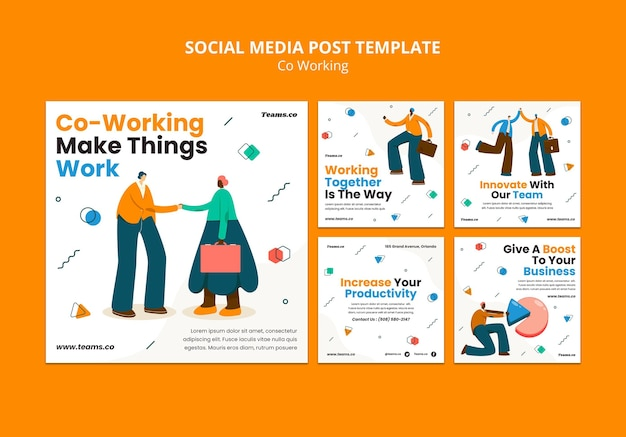 Koncepcja coworkingowa post w mediach społecznościowych