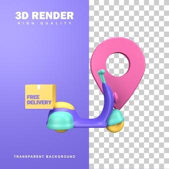 Koncepcja darmowej dostawy renderowania 3d przez skuter.