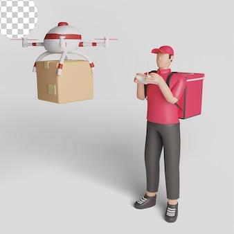 Koncepcja dostawy drona. operator dostawy kontrolujący quadkopter z pilotem. psd premium