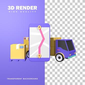Koncepcja dystrybucji logistycznej renderowania 3d przez ciężarówkę transportową.
