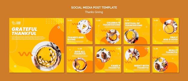 Koncepcja dziękczynienia szablon postu w mediach społecznościowych