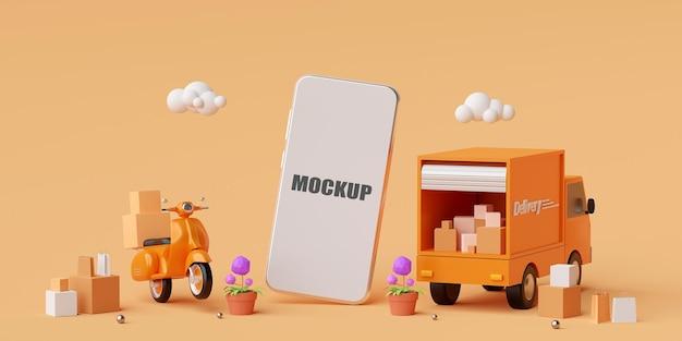 Koncepcja e-commerce, dostawa na aplikację mobilną. makieta smartfona na ekranie. dostawa transportu ciężarówką lub skuterem, renderowanie 3d