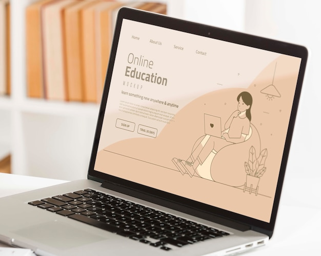 Koncepcja edukacji online z laptopem