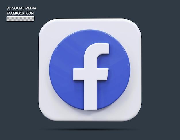 Koncepcja ikony mediów społecznościowych facebook 3d render