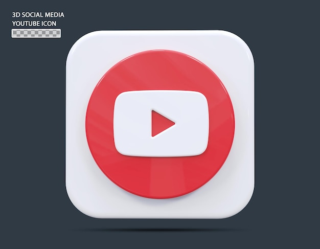 Koncepcja ikony mediów społecznościowych youtube 3d render