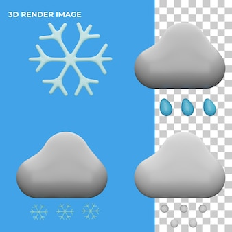 Koncepcja ikony pogody renderowania 3d na białym tle