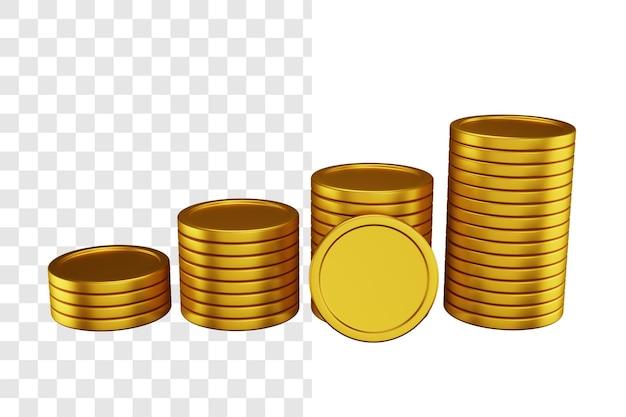 Koncepcja ilustracji 3d stos monet