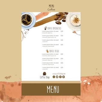 Koncepcja kawy dla szablonu menu