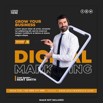 Koncepcja kreatywna agencja marketingu cyfrowego i szablon postu w mediach społecznościowych
