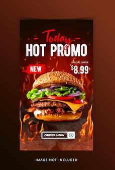 Koncepcja kreatywna burger food social media szablon historii instagram
