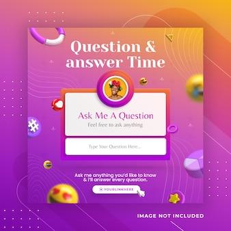 Koncepcja kreatywna czas na pytania i odpowiedzi dla szablonu posta w mediach społecznościowych