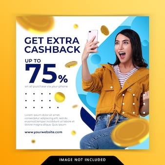 Koncepcja kreatywna dodatkowa promocja marketingowa cashback szablon postu w mediach społecznościowych