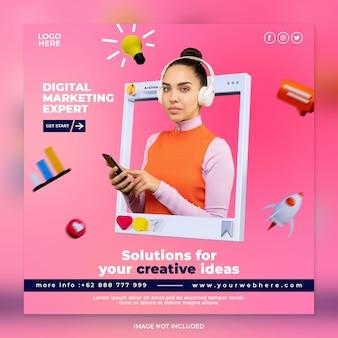 Koncepcja kreatywna ekspert ds. marketingu cyfrowego i szablon postu w mediach społecznościowych