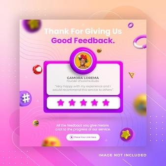 Koncepcja kreatywna opinie i referencje klientów szablon postu na instagramie w mediach społecznościowych