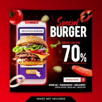 Koncepcja kreatywna promocja menu burgera instagram szablon banera społecznościowego
