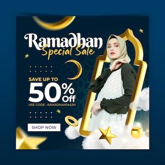 Koncepcja kreatywna ramadhan fashion sale instagram post szablon promocji marketingu w mediach społecznościowych