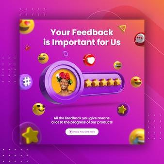 Koncepcja kreatywna recenzja opinii i ocena w postaci gwiazdek dla szablonu posta na instagramie w mediach społecznościowych