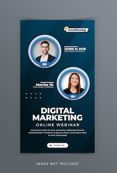 Koncepcja kreatywna warsztaty na żywo w mediach społecznościowych reklama marketingowa szablon opowiadań na instagramie