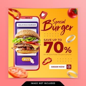 Koncepcja kreatywna zamówienie online promocja menu burgera szablon banera społecznościowego