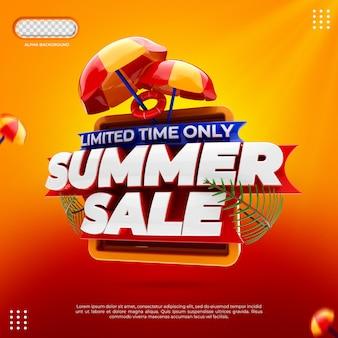 Koncepcja kreatywnych sprzedaży letniej 3d render na białym tle