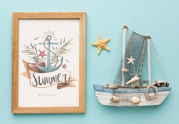 Koncepcja lato z łodzią