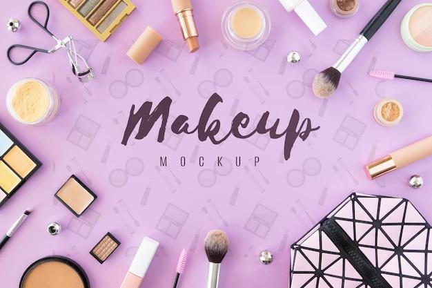 Koncepcja makiety produktów kosmetycznych z widokiem z góry