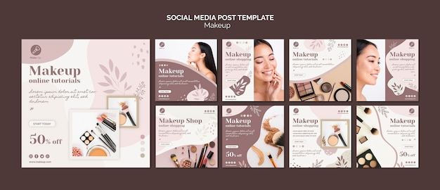 Koncepcja makijażu szablon postu w mediach społecznościowych