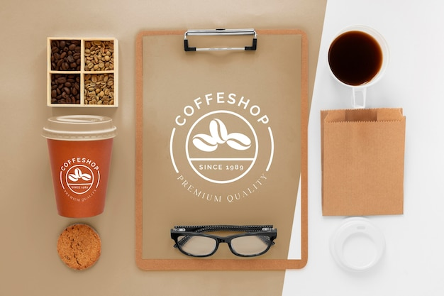 Koncepcja marki kawy płasko świeckich
